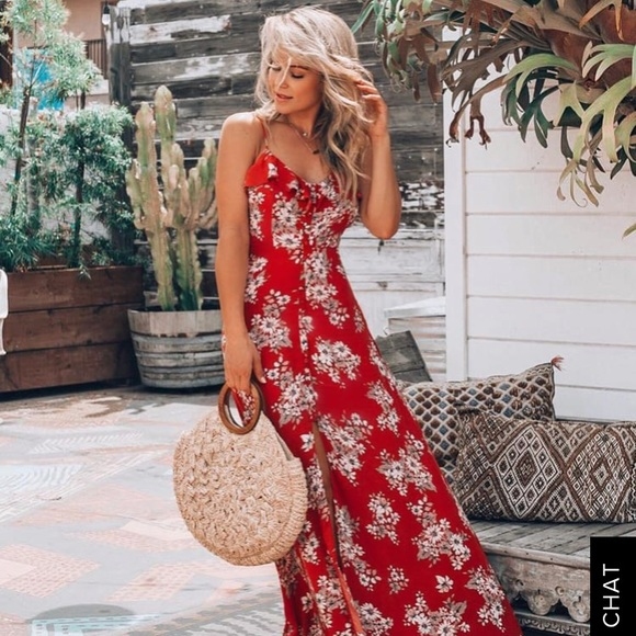 10a25c6c96 Lulu's Dresses   Bloom On Rust Red Floral Print Maxi Dress   Poshmark